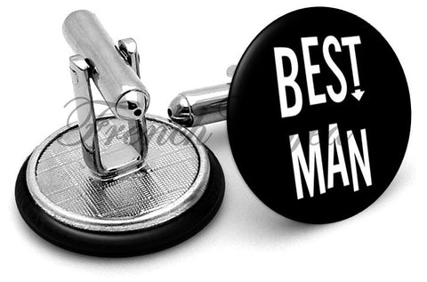 Design #4 Bestman Wedding Cufflinks - Angled View