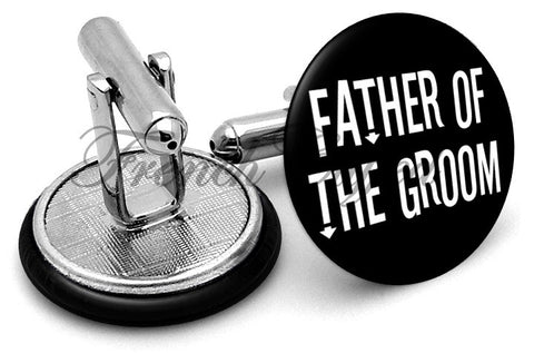 Design #4 Father Groom Wedding Cufflinks - Angled View