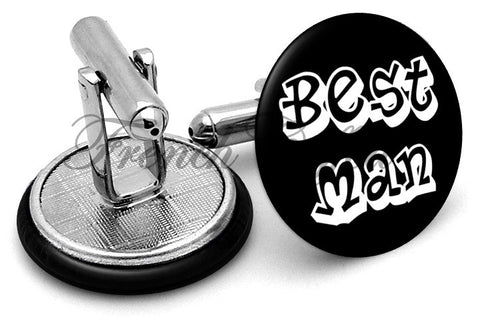 Design #5 Bestman Wedding Cufflinks - Angled View