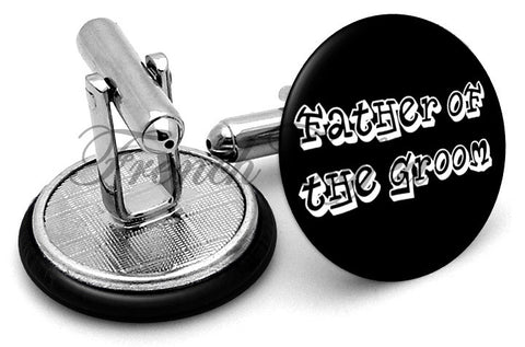 Design #5 Father Groom Wedding Cufflinks - Angled View