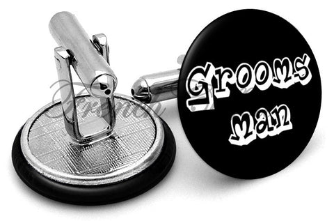 Design #5 Groomsman Wedding Cufflinks - Angled View