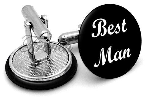 Design #6 Bestman Wedding Cufflinks - Angled View