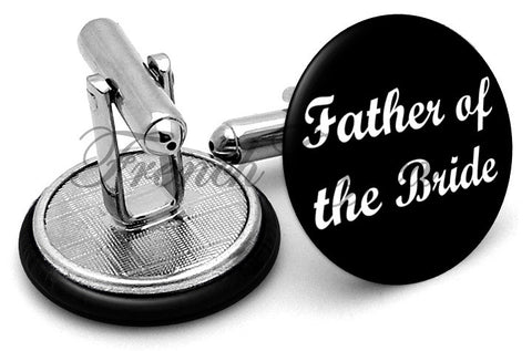 Design #6 Father Bride Wedding Cufflinks - Angled View