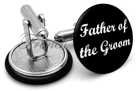 Design #6 Father Groom Wedding Cufflinks - Angled View