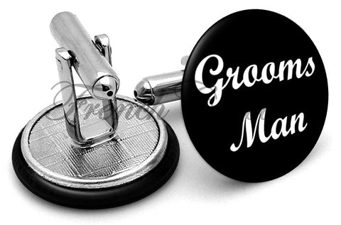 Design #6 Groomsman Wedding Cufflinks - Angled View