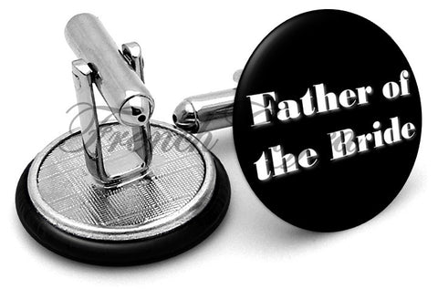 Design #1 Father Bride Wedding Cufflinks - Angled View