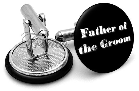 Design #1 Father Groom Wedding Cufflinks - Angled View