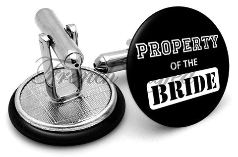 Property Of Bride Wedding Cufflinks - Angled View