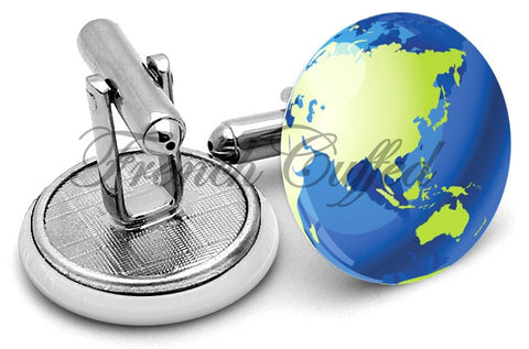 Map Globe Asia Cufflinks - Angled View