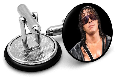 Bret Hart The Hitman Cufflinks - Angled View