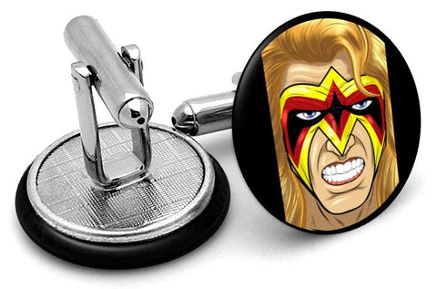 Ultimate Warrior Portrait Cufflinks - Angled View