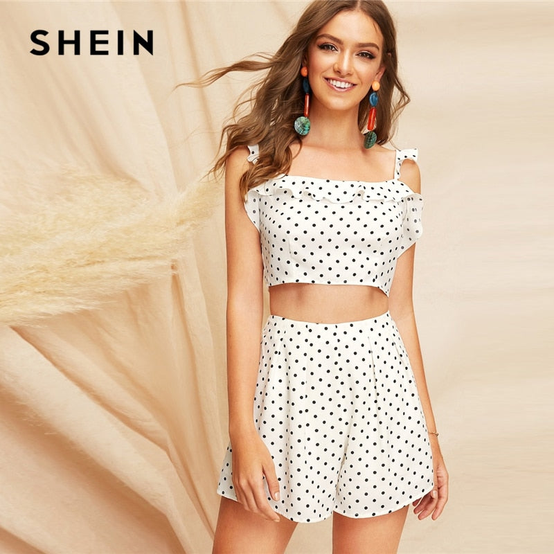 d335999ada SHEIN Boho White Knot Back Polka Dot Top And Shorts Set Women Two Pieces  Sets 2019
