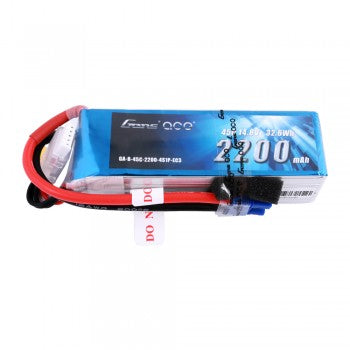 Gens ace 2200mAh 14.8V 45C 4S1P Lipo Battery Pack with EC3 Plug