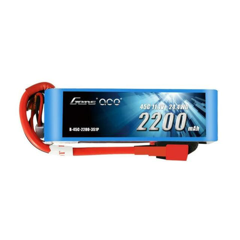 Gens ace 2200mAh 11.1V 60C 3S1P Lipo Battery Pack (Deans)