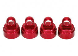3767X: Traxxas Shock Caps, Aluminum (Red-anodized) (4) (fits all Ultra Shocks)