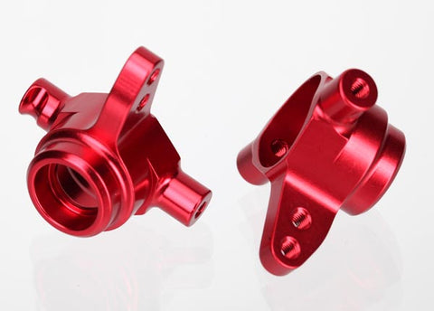 6837R: Traxxas Steering Blocks, 6061-T6 Aluminum (red-anodized), Left & Right