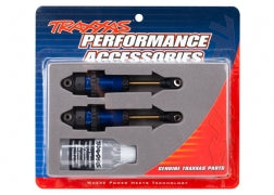 7461: Traxxas Shocks, GTR long Blue-Anodized, PTFE-Coated Bodies w/TiN Shafts