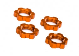 7758T: Traxxas Wheel Nuts, Splined, 17mm, Serrated (orange-anodized) (4)