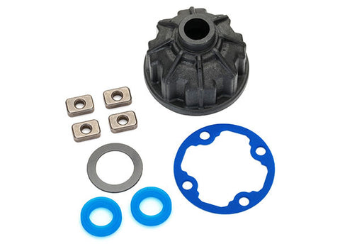 8681: Traxxas Carrier, Differential (heavy duty)/ X-Ring Gaskets (2)