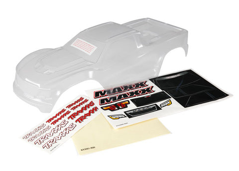 8911: Traxxas Body, Maxx® (clear, requires painting)/ window masks/ decal sheet)
