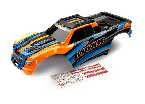 8911T: Traxxas Body, Maxx, Orange (painted)/ Decal Sheet