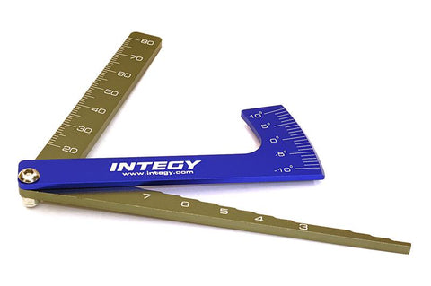 Aluminum Alloy Ruler, Ride Height 1.5-to-7.0mm& Camber Gauge for 1/10 TC & Drift