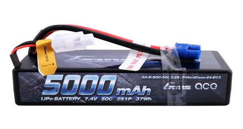 GENS ACE 5000mAh 7.4V 50C 2S1P Hard Case Lipo Battery Pack 24# with EC3