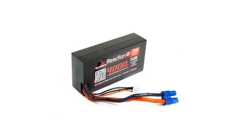 Reaction 2.0 7.4V 4000mAh 50C 2S Hardcase LiPo Battery, 96mm, EC3