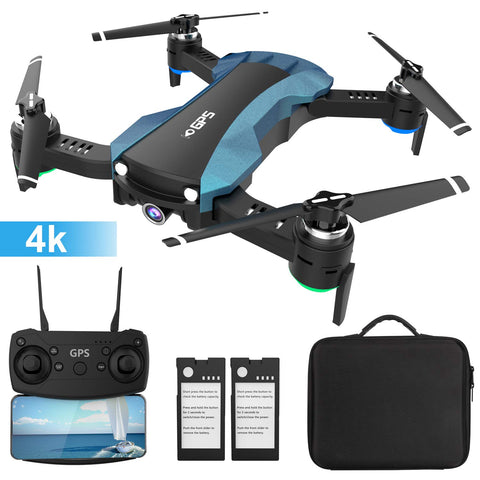 GPS Drone with 4K Camera 5G WiFi FPV RC Quadcopter (Blue)