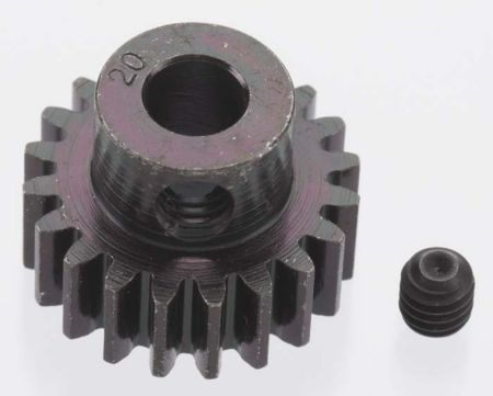 RRP Extra Hard 20 Tooth Blackened Steel 32p Pinion, 5mm