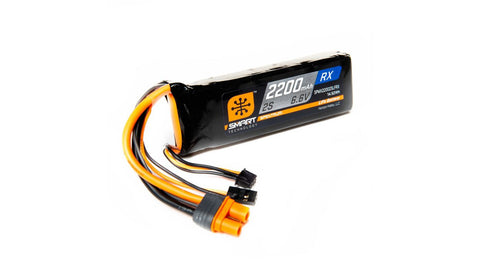 Spektrum 6.6V 2200mAh 2S 15C Smart LiFe Receiver Battery: Universal Receiver, IC3 (SPMX22002SLFRX)