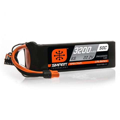 Spektrum 22.2V 3200mAh 6S 50C Smart LiPo Battery, IC3