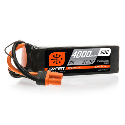Spektrum 22.2V 4000mAh 6S 50C Smart LiPo Battery: IC5