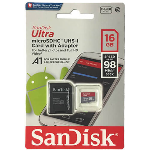 SanDisk 16GB Ultra microSDHC UHS-I Memory Card with Adapter