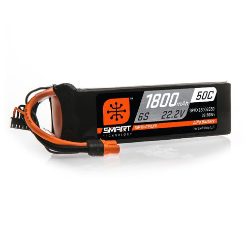 SPEKTRUM 22.2V 1800mAh 6S 50C Smart LiPo Battery: IC3