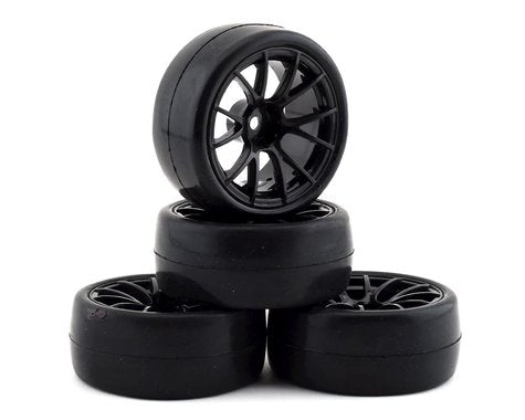 Firebrand RC Hustler RS Pre-Mounted On-Road Tires (4) (Black) w/CarpetMuncher Tires, 12mm Hex & 9mm Offset