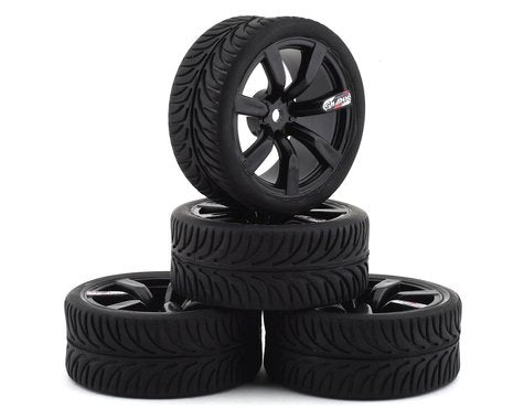 Firebrand RC Shanx RT3 Pre-Mounted On-Road Tires (4) (Black) w/Mako Tires, 12mm Hex & 3mm Offset