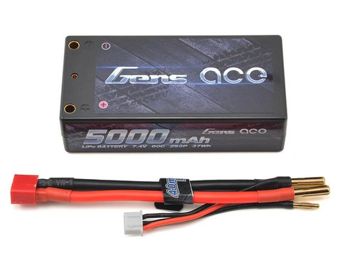 Gens ace 2s Shorty LiPo Battery Pack 60C w/4mm Bullet (7.4V/5000mAh)