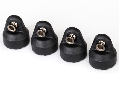 8361: Traxxas Shock Caps (black) (4) (assembled with hollow balls)
