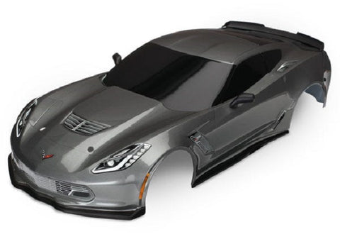 8386A: Traxxas Body, Chevrolet Corvette Z06, graphite (painted, decals applied)
