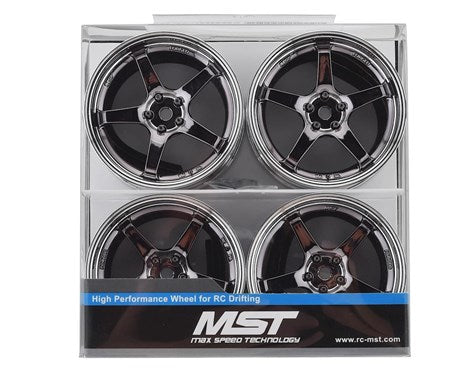 MST GT Wheel Set (Chrome/Black Chrome) (4) (Offset Changeable) (832109SBK)