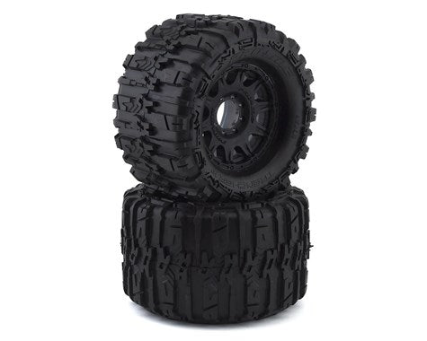 "Pro-Line Trencher HP Belted 3.8"" Pre-Mounted Truck Tires (2) (Black) (M2) w/Raid Wheels (PRO1015510)"