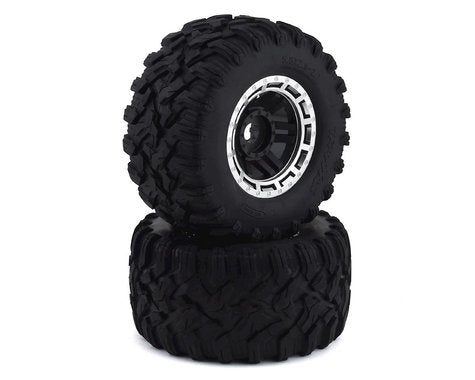 8972X: Traxxas Maxx All-Terrain Pre-Mounted Tires (Black/Chrome) (2)