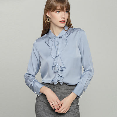 a6e0d78f 100% Heavy Silk Shirt Elegant Design Ruffles Long Sleeves available in 2  Colors