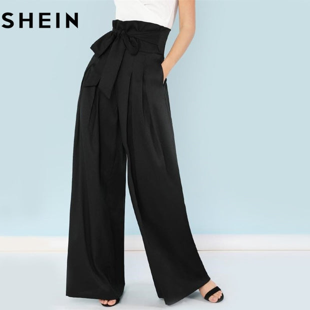 44e907ce19a00 SHEIN Self Belted Box Pleated Palazzo Pants Women Elegant Loose Long Pants  2018 Fall Ginger High