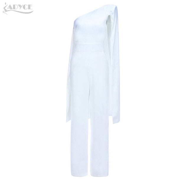 43e29b9507df ADYCE 2018 Summer Women Celebrity Runway Jumpsuits One Shoulder White Black  Batwing Sleeve Romper Jumpsuit Sexy