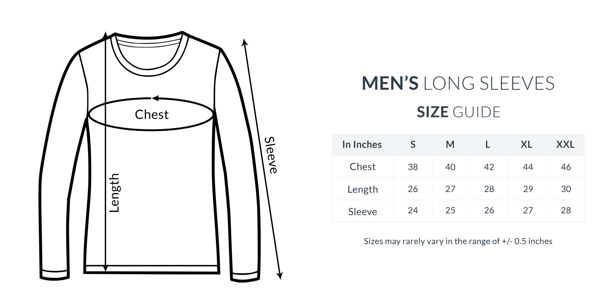 Size Chart Mens Full Sleeve