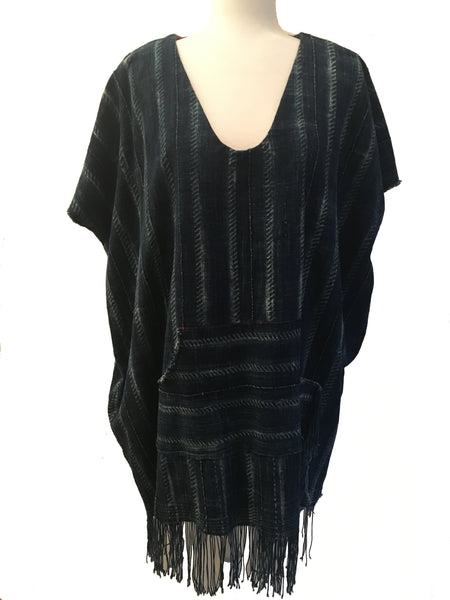 vintage indigo cloth v-neck poncho