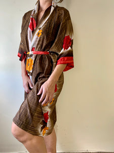 Red/Brown Floral Robe