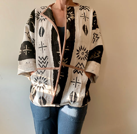 Bold Black and White Kimono Jacket